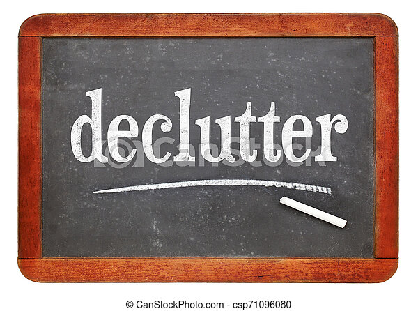 declutter white chalk text on blackboard - csp71096080