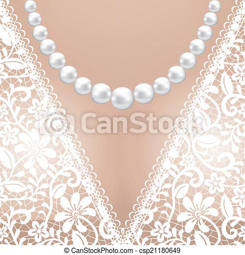Decolette Of White Lace Bridal Dress