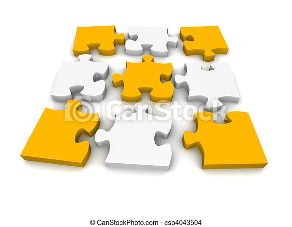 Decomposed Jigsaw Puzzle 3d Rendered Illustration