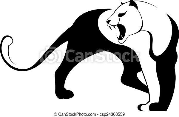 Line Drawing Jaguar : Decor animal silhouette illustratio jaguar cougar puma
