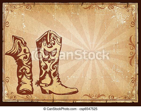 decor, oud, cowboy, tekst, frame, papier, achtergrond - csp6547525