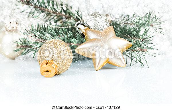 decoração, dourado, cópia, xmas, espaço - csp17407129