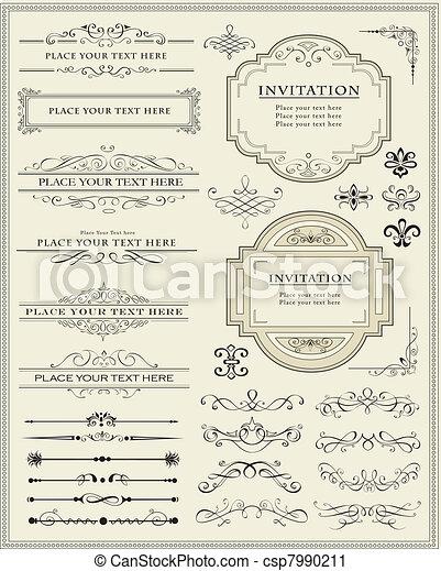 decoração, elementos, desenho, página, calligraphic - csp7990211