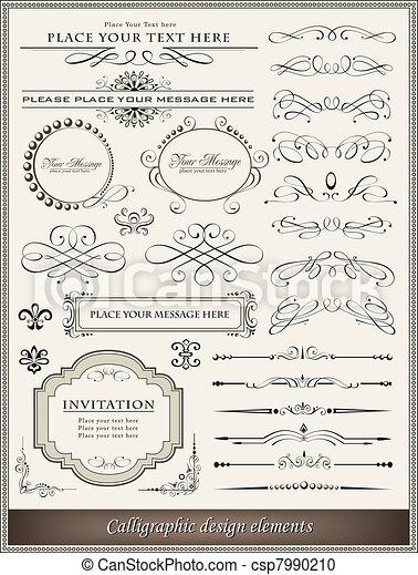 decoração, elementos, desenho, página, calligraphic - csp7990210