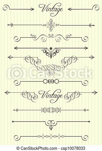 decoração, elementos, desenho, página, calligraphic - csp10078033