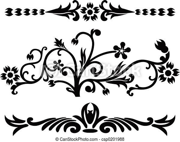 decoração, ilustração, vetorial, scroll, cartouche - csp0201988