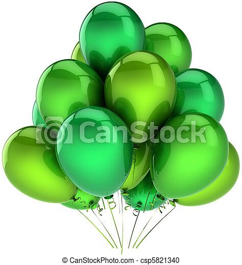 decoração, partido, verde, balões - csp5821340