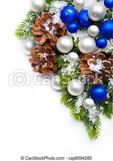 decoração, quadro, árvore, natal, snowflakes - csp8094280