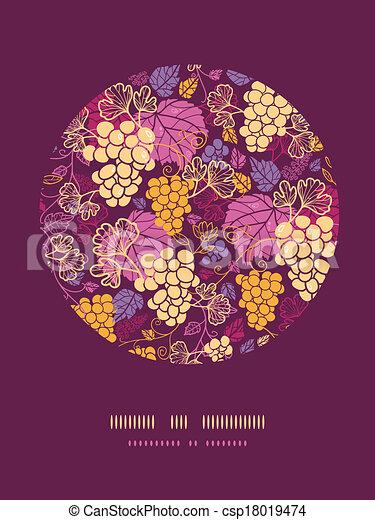 decoração, uva, doce, videiras, padrão experiência, círculo - csp18019474