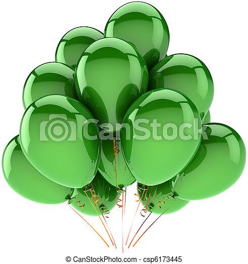decoração, verde, hélio, bexigas - csp6173445