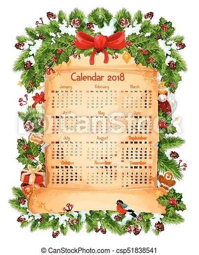 Decoracao Vetorial 2018 Modelo Calendario Natal Dourado