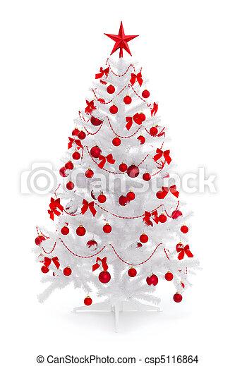 Decoracin blanco rbol navidad rojo Decoracin rbol aislado