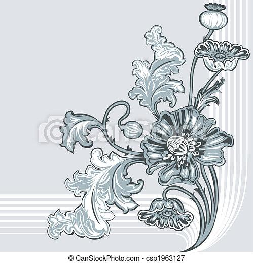 decoración, amapola, flor - csp1963127