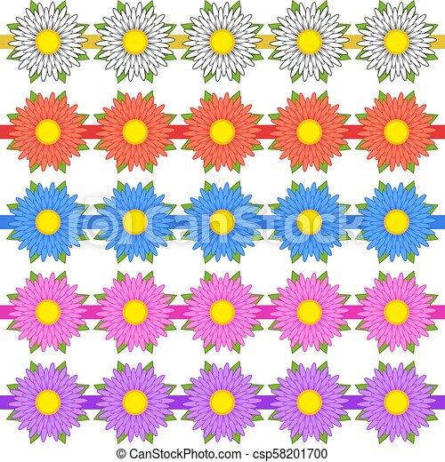 Un juego de cintas para decorar de color rojo, blanco, azul, rosa, flores púrpura del mismo tamaño - csp58201700