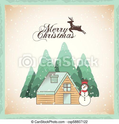 Feliz Navidad tarjeta de decoración - csp58807122