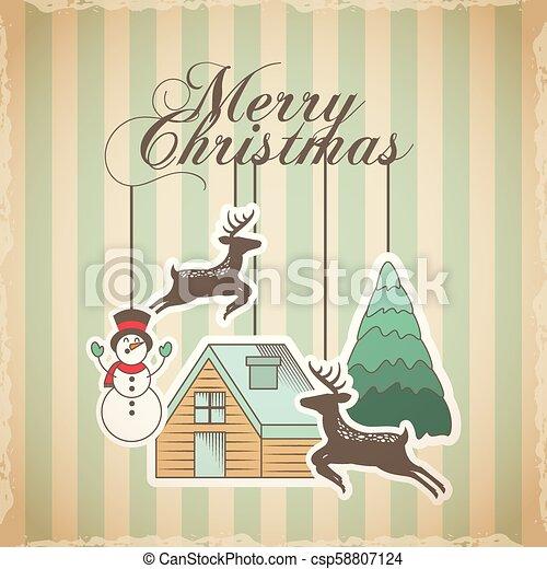Feliz Navidad tarjeta de decoración - csp58807124