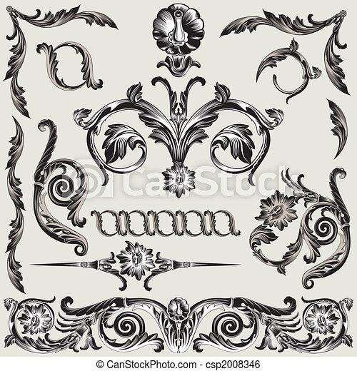 decoración, floral, conjunto, elementos, clásico - csp2008346