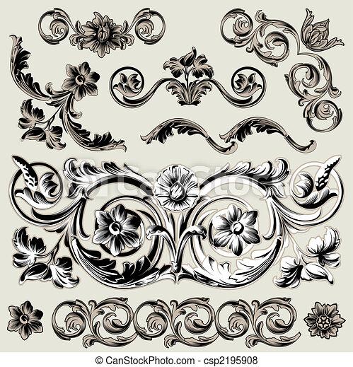 Un conjunto de elementos clásicos de decoración floral - csp2195908