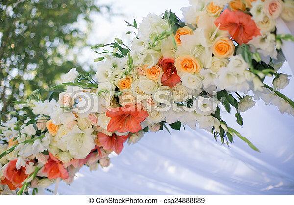 Decoración De Flores De Boda Un Primer Plano Del Centro De