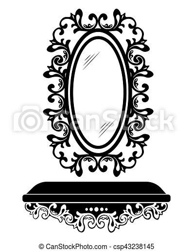 Decoración, rococó, barroco, marco, espejo. Estilo, vector ...