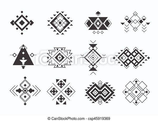 Decoración, symbols., ethno, collection., tribal, azteca, conjunto ...