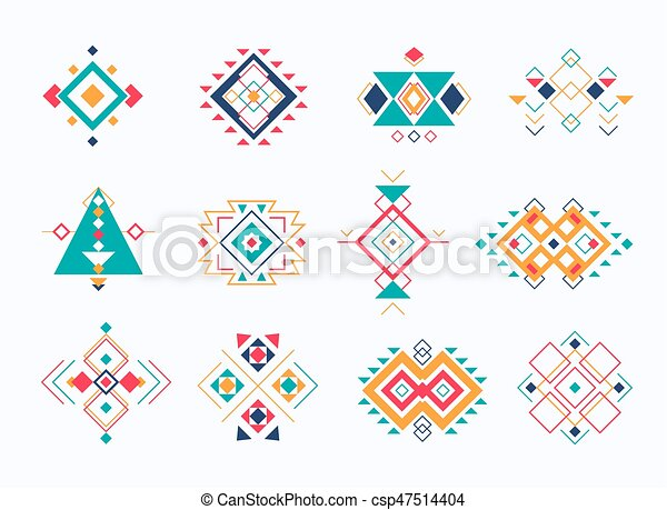 Decoración, symbols., ethno, colorido, collection., tribal, azteca ...