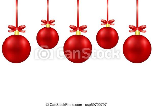 Tarjeta de felicitación con bolas de decoración de Navidad rojas con arcos en fondo blanco, ilustración de vectores de valores - csp59700797