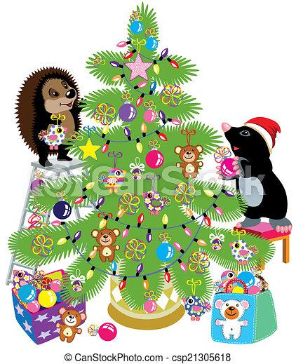 Decorando Un árbol De Navidad Topo De Dibujos Animados Y