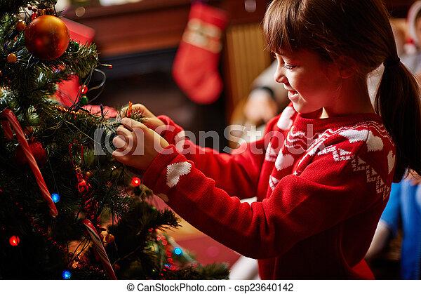 decorar, árbol, navidad - csp23640142