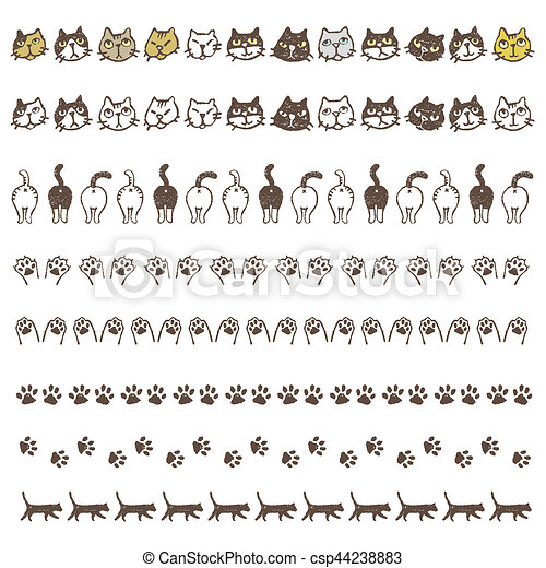 Decorated border line with different cats, paws and buttocks - csp44238883