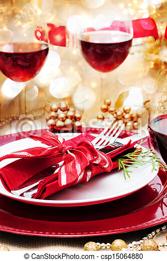 Decorated Christmas Dinner Table - csp15064880