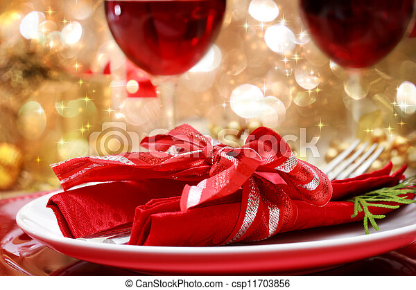 Decorated Christmas Dinner Table - csp11703856