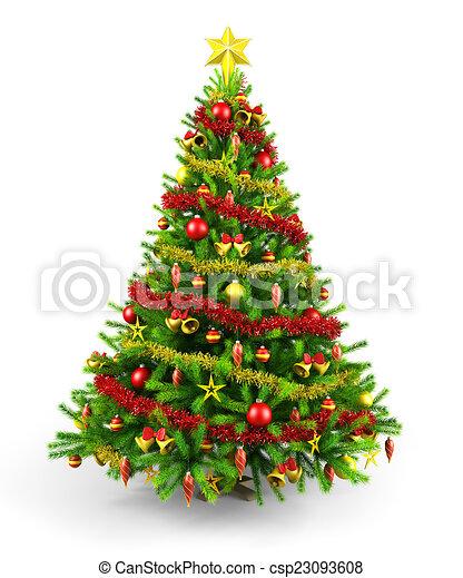 Decorated Christmas tree - csp23093608