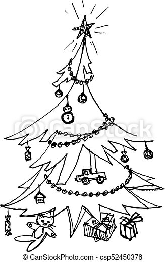 Decorated Christmas Tree Hand Drawing Christmas Tree On White