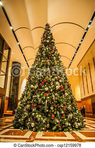 decorated christmas tree indoor csp12159978 - Indoor Decorative Christmas Trees