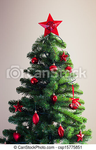 decorated christmas tree - csp15775851