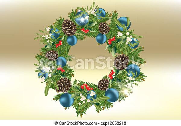 decorated christmas wreath csp12058218 - Blue Christmas Wreath