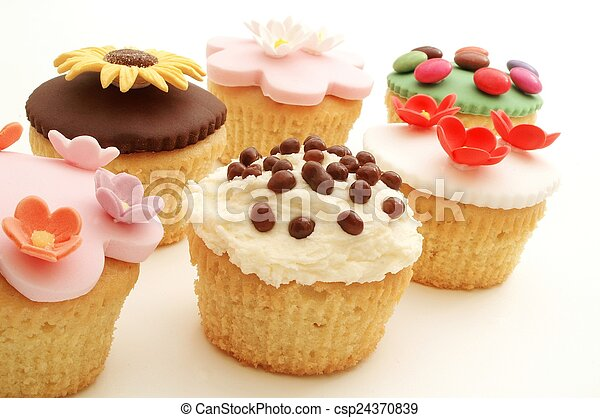 decorated cup cakes - csp24370839