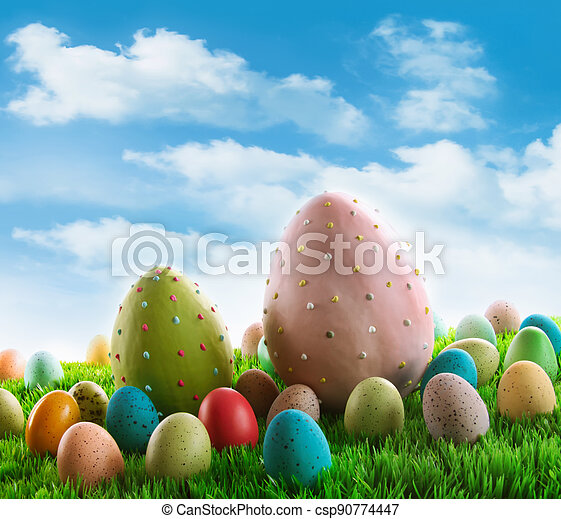 Decorated eggs in the grass - csp90774447