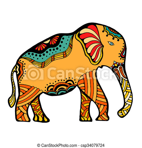 art hand drawn color tattoo doodle with decorated indian clip art rh canstockphoto ie indian elephant clipart black and white indian elephant face clipart