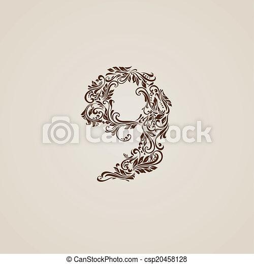 Decorated nine digit on beige - csp20458128