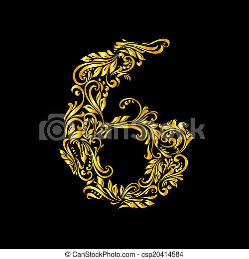 Decorated six digit on black - csp20414584