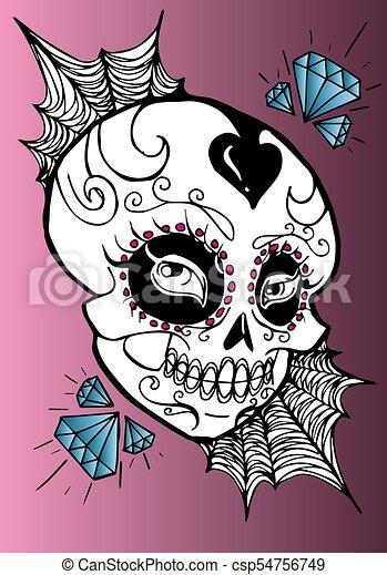 Decorated skull with diamonds. la calavera catrina. cf420ba1e83