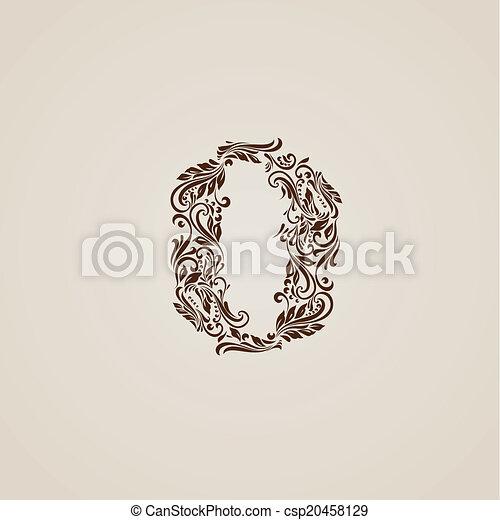 Decorated zero digit on beige - csp20458129