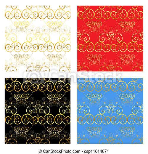 decoratief, achtergronden, goud - csp11614671