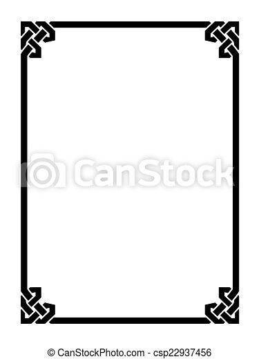 decoratief, decoratief, stijl, frame, romein, black  - csp22937456