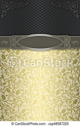decoratief, elegant, frame., achtergrond, motieven - csp48587225