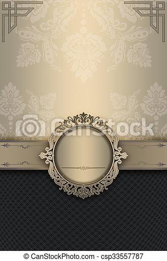 decoratief, elegant, frame, patterns., achtergrond - csp33557787