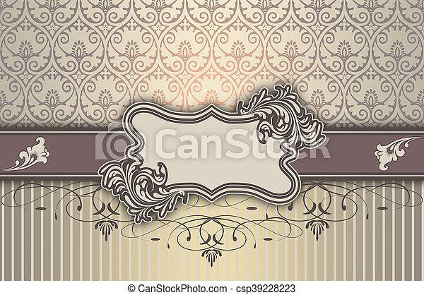 decoratief, elegant, frame, patterns., achtergrond - csp39228223