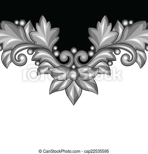 decoratief, elements., achtergrond, floral, barok, zilver - csp22535595